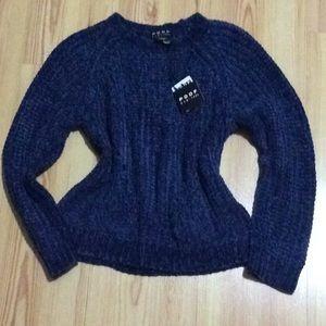 Poof! navy velvet sweater NWT!